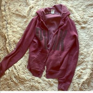 Burgundy Pink VS Zip Up Sweatshirt
